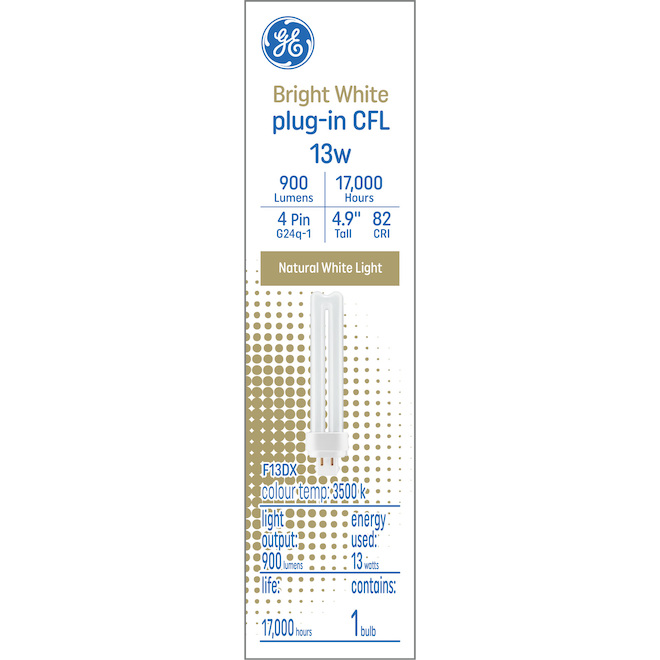 GE Bright White 13 W CFL 4.9-in Double Tube 4-Pin Light Bulb (1-Pack)