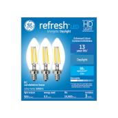 GE Refresh HD Daylight 60W Replacement LED Decorative Clear Blunt Tip Candelabra Base BC Light Bulbs (3-Pack)
