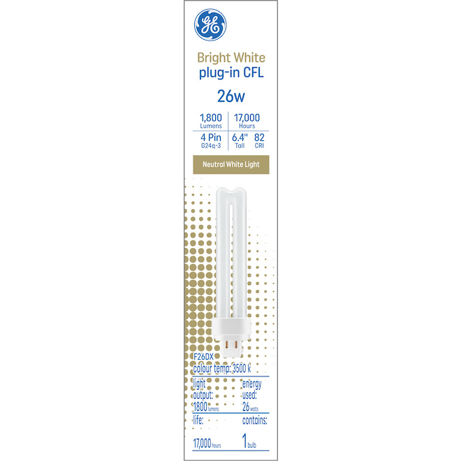 GE Bright White 26 W Plug-in CFL G24q-3 Base 6.4-in F26DX Light Bulb (1-Pack)