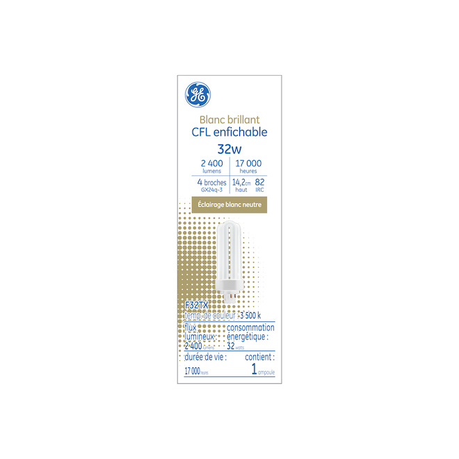 Tube fluo compact GX24Q-3, 32 W, blanc brillant