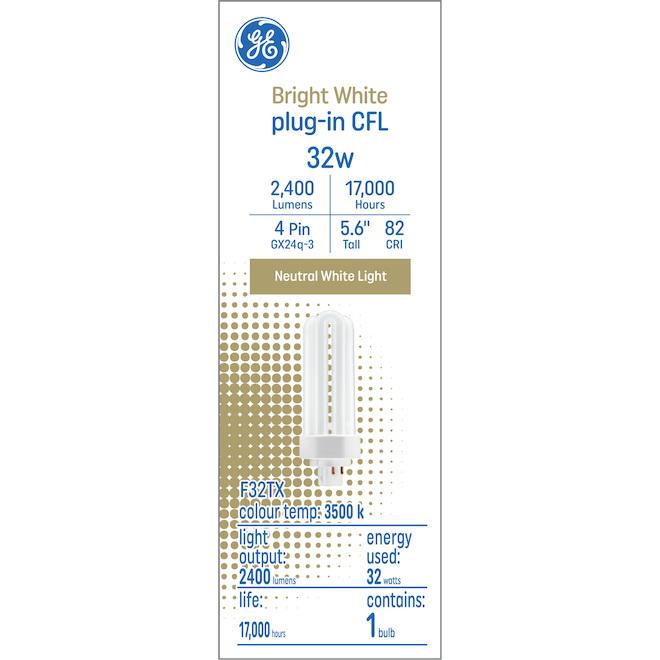 GE Bright White 32 W Plug-in CFL GX24q-3 Base 5.6-in F32TX Light Bulb (1-Pack)