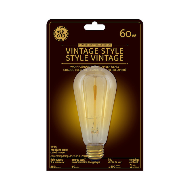 Vintage Incandescent Bulb - ST19 - 60 W - Candlelight
