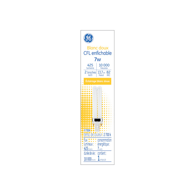 Compact Fluorescent Bulb - G23 - 7 W - Glass - Soft White