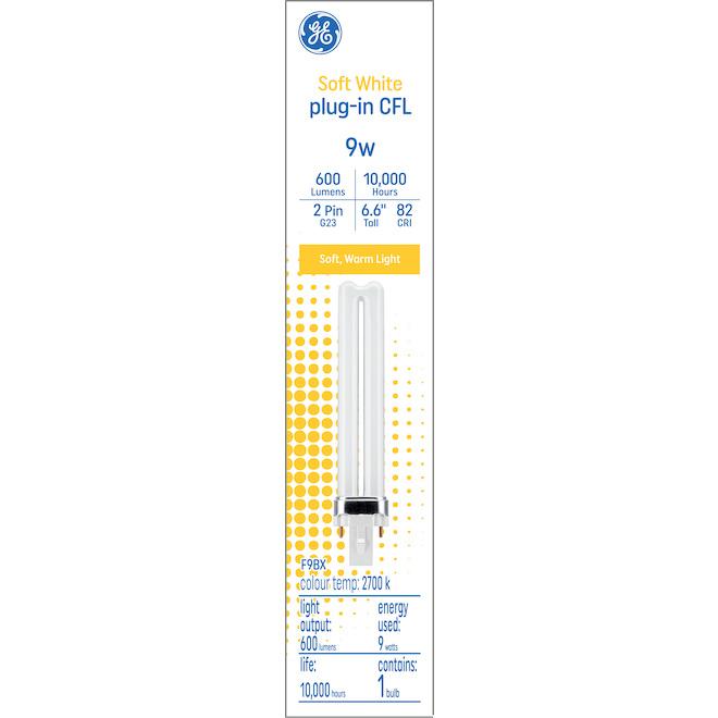GE Soft White 9W Plug-in CFL G23 Base 6.6-in F9BX Light Bulb (1-Pack)