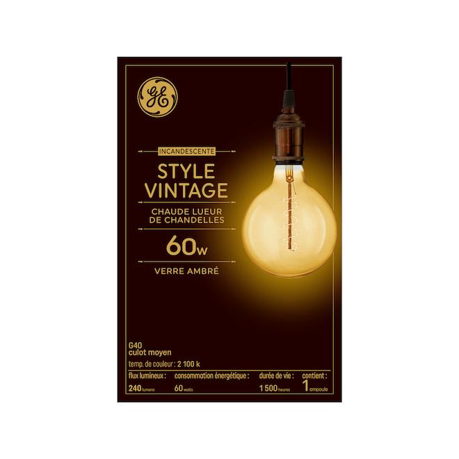 Ampoule Incandescente G40, 60 W, ambré