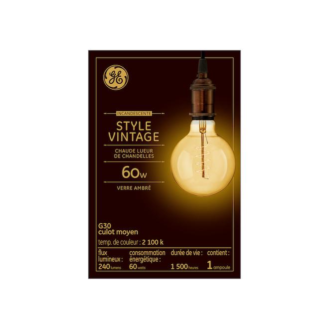 Ampoule Incandescente G30, 60 W, ambré