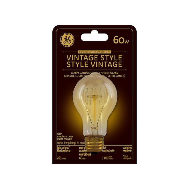 Vintage Incandescent Bulb A19 - 60 W - Amber
