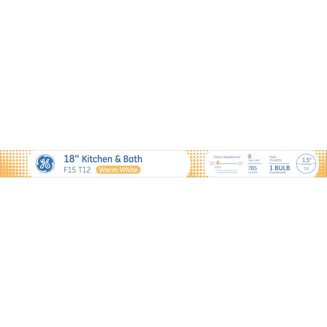 Tube fluorescent F15 T12, 15 W, 18'', blanc chaud