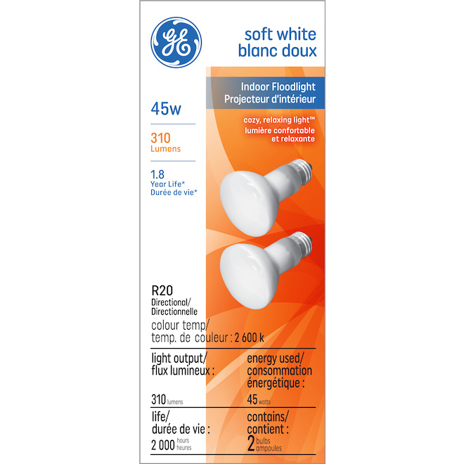 Incandescent Bulb R20 - 45 W - Soft White - 2/Pack