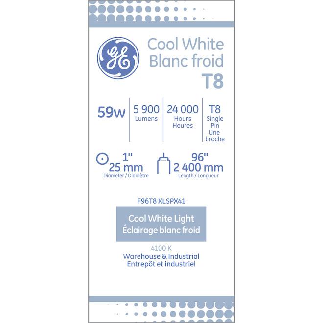 GE Fluorescent Tube - 60 W - 96'' - 2/Pck - Bright White
