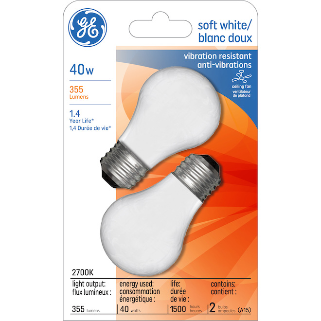 Ampoule incandescente GE, A15FR, 40 W, 2/pqt, blanc doux