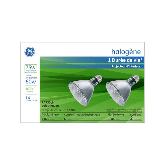 Ampoule halogène GE, PAR30L, 60 W, 2/pqt, blanc doux