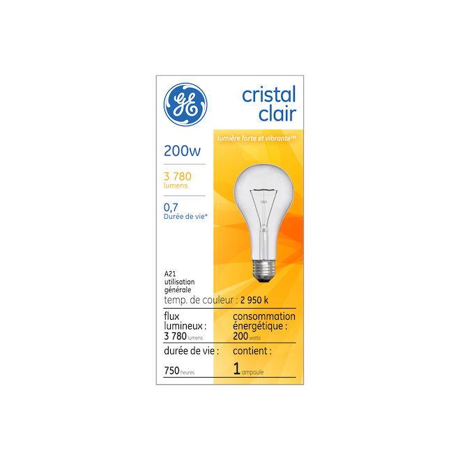 GE Incandescent Bulb - A21 - 200 W - 1/Pck - Soft White
