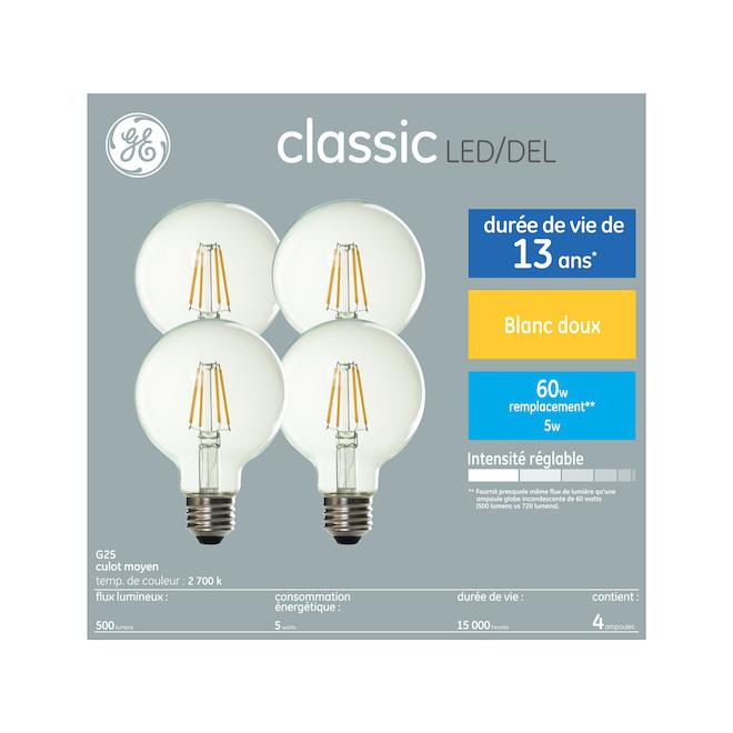 Ampoule DEL GE, G25, 5 W, 4/pqt, blanc doux