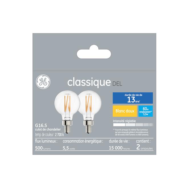 Ampoule DEL GE, G16 CAC, 5 W, 2/pqt, blanc doux