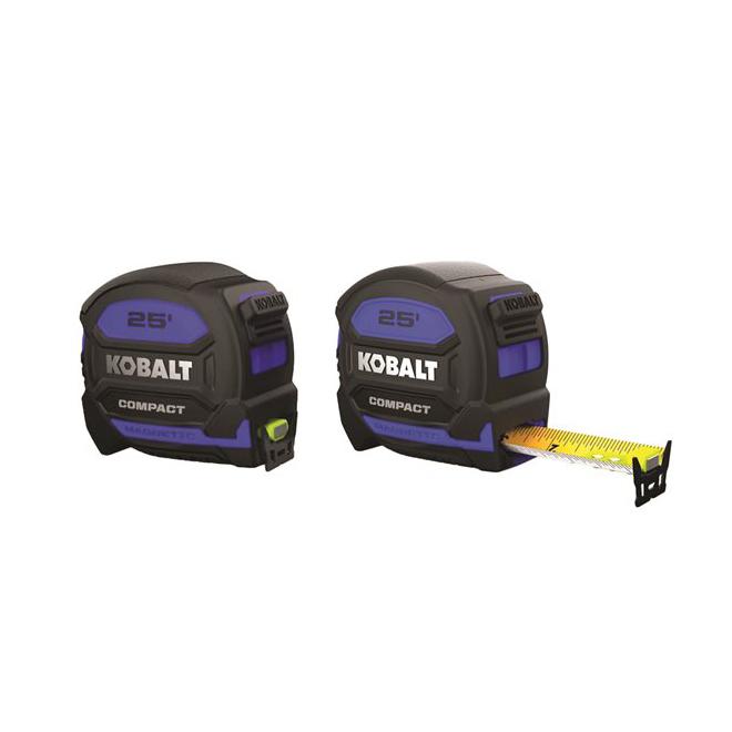 Ruban à mesurer, Kobalt Compact, magnétique 25 pi x 1 po, bleu et noir
