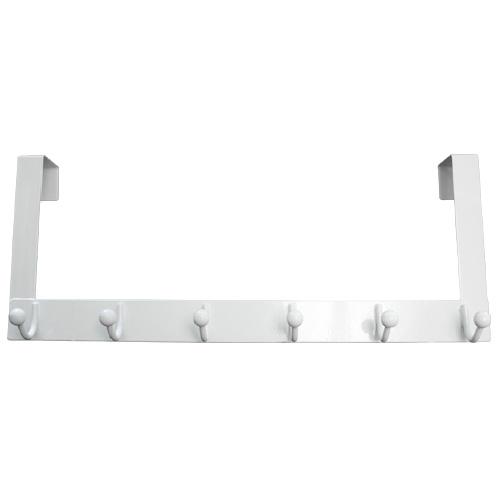 "Metal Rack - 6 Single Hooks - 20"" - White"