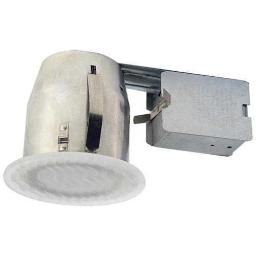 """Luminaire encastré 4 1/8"""", acier et verre, blanc"""