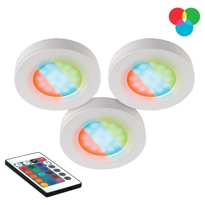 Multi-Coloured Under-Cabinet LED Puck Light 3-Pack