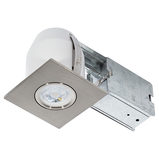 Square LED Recessed Light - 7 W - Brushed Steel
