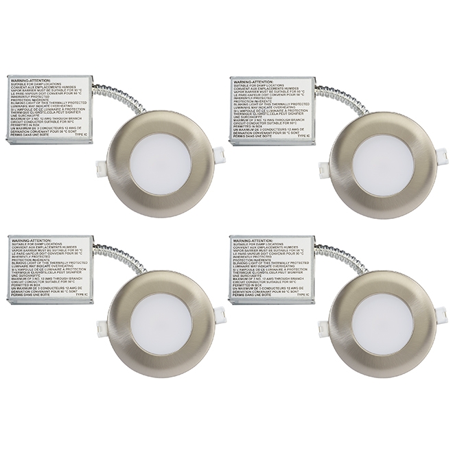 Dimmable Recessed Lights - Slim - 11W LED - Br. Steel - 4/Pk