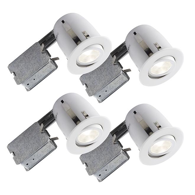 Ensemble de lumières encastrées BAZZ série 510, 50 watts, intensité réglable, 4 unités, blanc