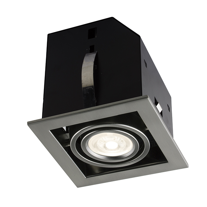 Cube Recessed Light - 7W LED - Brushed Steel