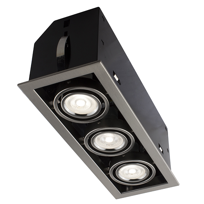 Luminaire encastré Cube à 3 lumières, DEL 7 W, acier brossé