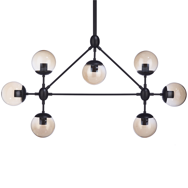 Pendant - 7 Lights - Smoked Glass Spheres - Vintage - Black