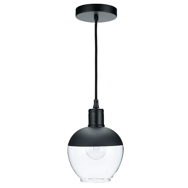 Bazz - Pendant - 1 Light - Clear Glass Globe - Black