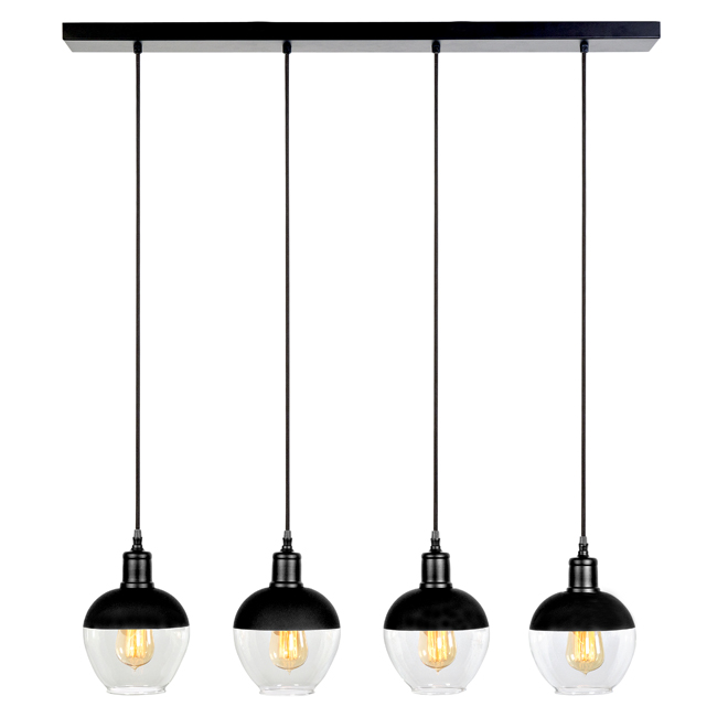 Bazz Pendant Lights u 4 Clear Glass Globes - Black