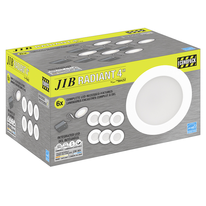 Bazz SLIM Recessed Light - 10 W LED - Matte White - 6/Pack