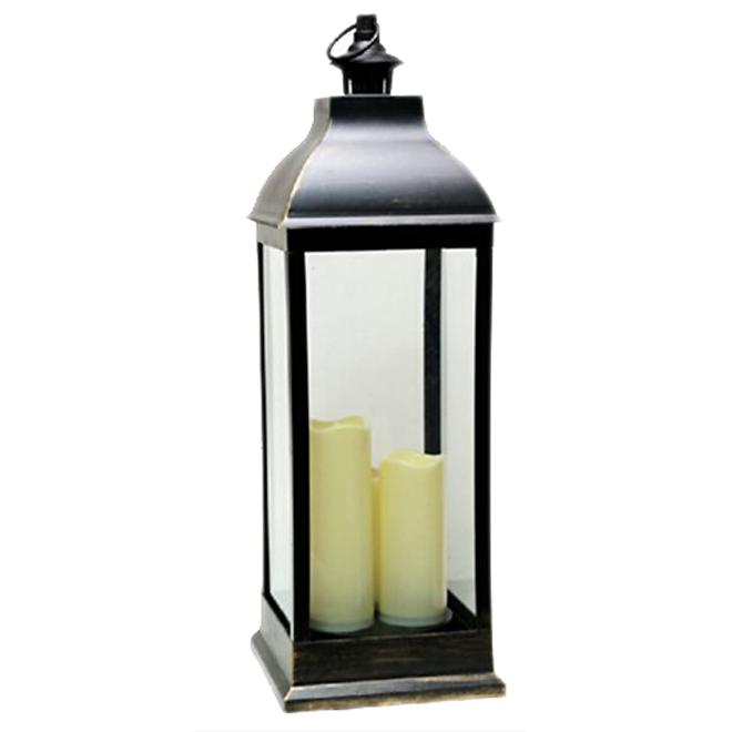 """Lanterne à bougie en plastique, 9"""" x 27"""", noir brossé"""