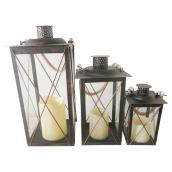 Candle Lantern Set - Plastic - Black - 3 Pieces
