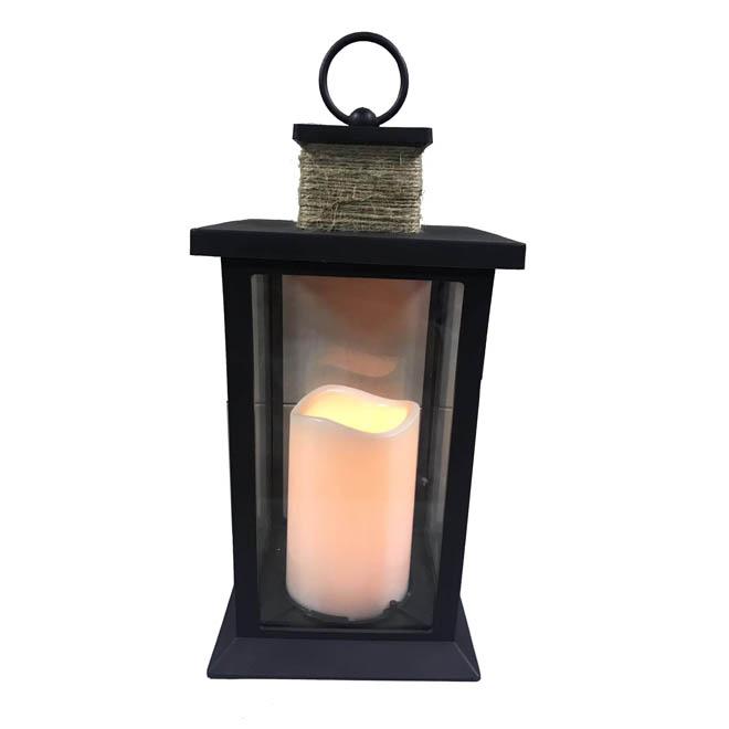 """LED Candle Lantern 12 1/2"""" - Metal - Black"""