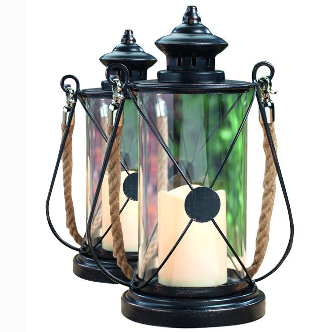 Set of 2 LED Lantern with Timer - Black