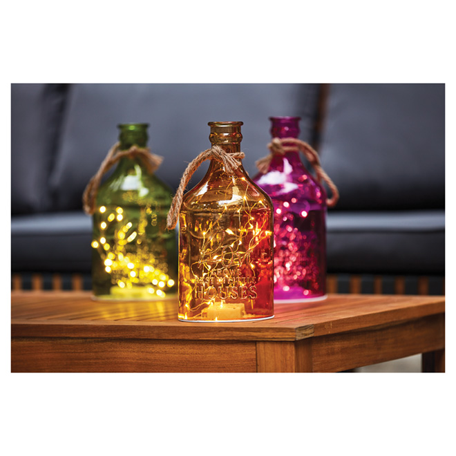Glass Lantern with LED Light Wire - Assorted Colors