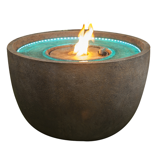 """LED Fountain Firepit - 24"""" - Cement"""