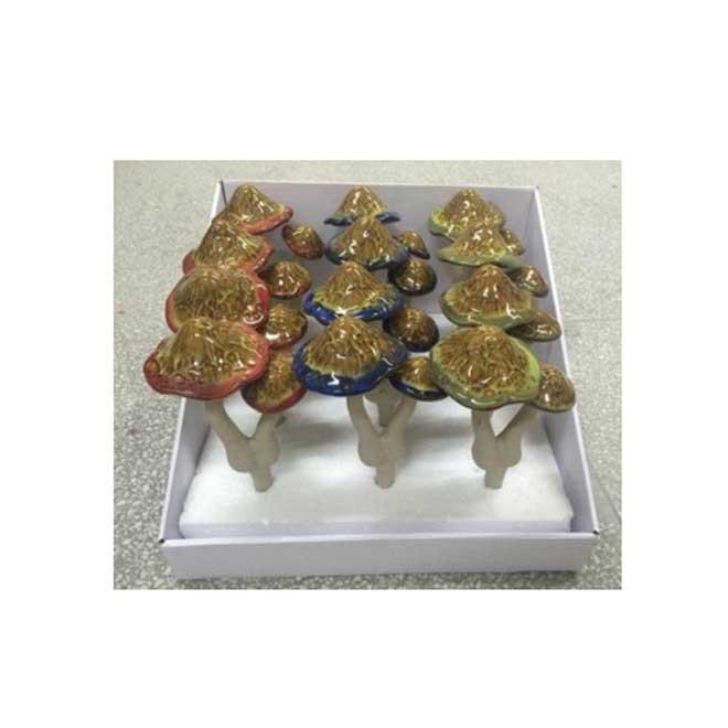 """Ceramic Mushroom Garden Ornaments - 6"""" - Assorted"""