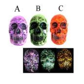 Crâne de verre à lumière DEL, couleurs assorties