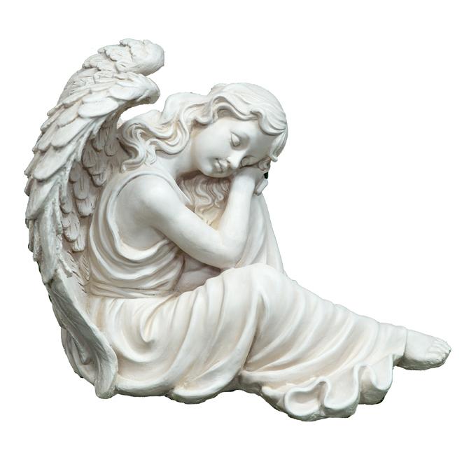 """Decorative Garden Statue - Angel - 20"""" - Grey"""