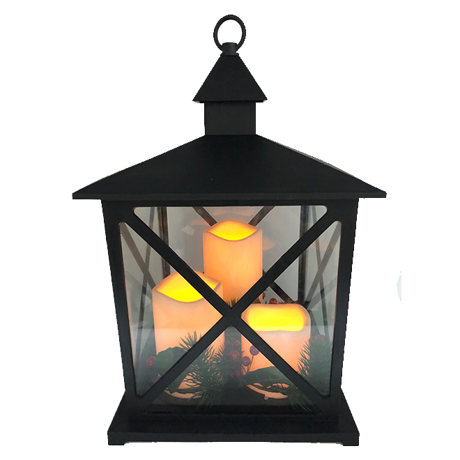 Traditional Lantern with 3 LED Candles - Black