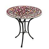Bain d'oiseaux mosaïque Styles Selections, verre-métal, rouge