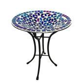 Style SelectionsBlue Mosaic Birdbath - Glass/Metal - Blue