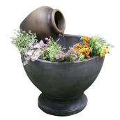 Fountain with Flower Pot - 23.23'' x 27.95'' - GRC