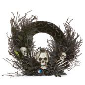 Haunted Living Halloween Skeleton Wreath - 24-in - Black