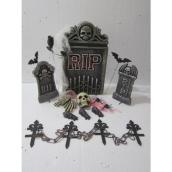 Haunted Living Halloween Tombstone Set -  LED - Polyfoam - Grey