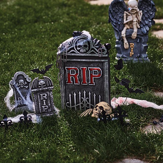 Haunted Living Halloween Tombstone Set -  LED - Polyfoam - Grey