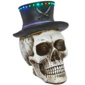 Haunted Living Skull with Top Hat - 20.4-in - White/Black