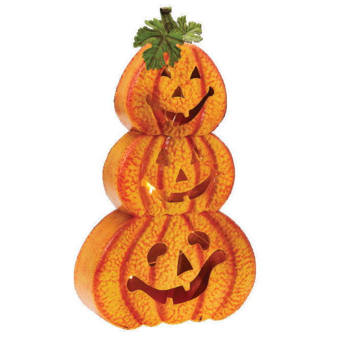 Haunted Living Coloured Stacked Pumpkins - LED - Galvanized Steel